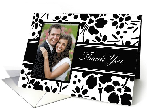 Wedding Thank You - Black and White Floral card (831706)