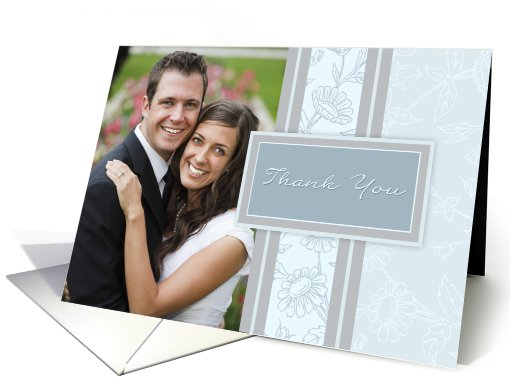 Wedding Thank You Photo Card - Blue Floral card (835903)
