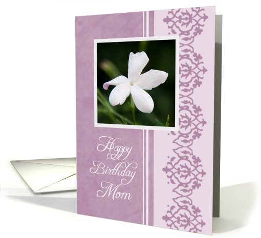 Happy Birthday Mom from Daughter - Purple & White Flower card (764515)