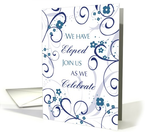 Elopement Party Invitation - White & Blue Flowers card (778349)