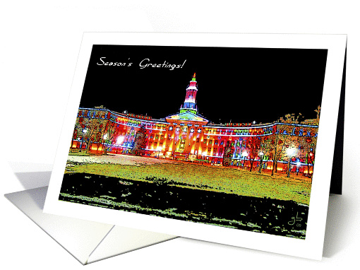 Season's Greetings, Denver City & County Building, Holiday Lights card