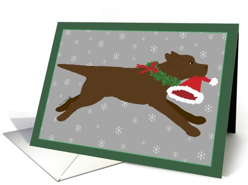 Christmas - Chocolate Lab Steals Santa's Hat card (449731)