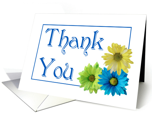 Thank You three daisies general blank inside card (1042699)