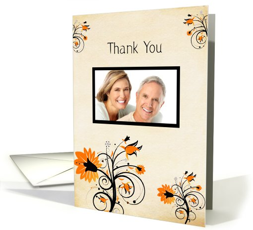 Wedding Gift Thank You, Orange Flowers Photo card (872006)