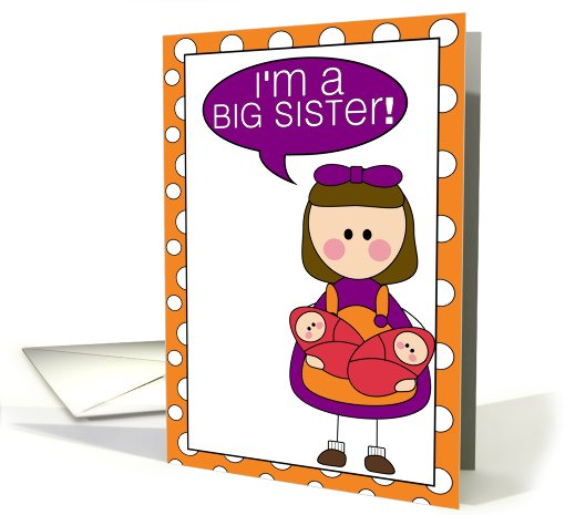 i'm a big sister - baby girl twins announcement card (607810)