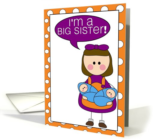 i'm a big sister - baby boy twins announcement card (607821)