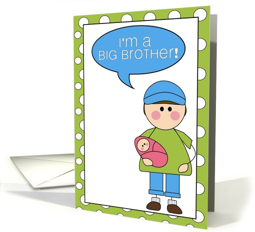 i'm a big brother - baby girl announcement card (607822)