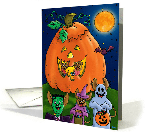 Trick or Treating mice with Jack-O-Lantern house card (473923)