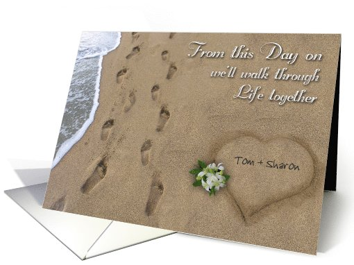 Wedding Footprints in the Sand Custom Announcement card (1121998)