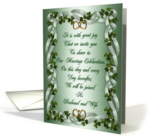 Irish Wedding invitation Shamrocks and ribbons card (773991)