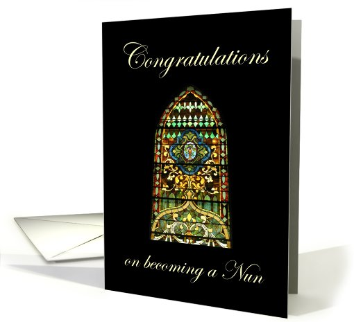 Congratulations on becoming a Nun, stained glass window card (807483)