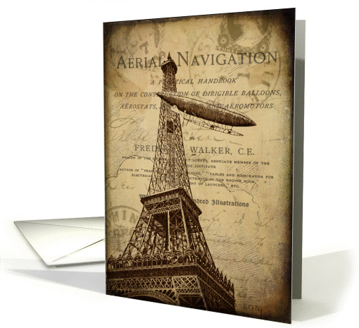 Vintage Hot Air Balloon In Paris - Any Occasion card (847915)