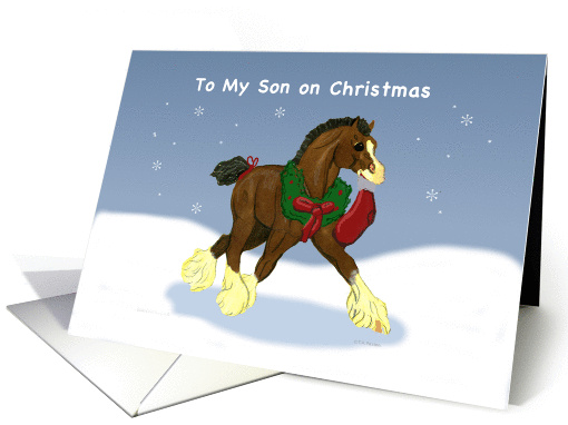 Christmas for Son Clydesdale Horse Colt card (1009081)