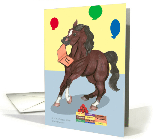 Bay Horse with book and balloons Teacher Birthday card (505533)
