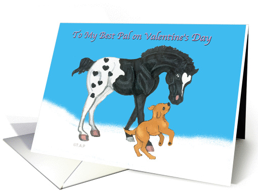 Hearts Appaloosa Horse and Golden Labrador Dog Valentine card (535326)