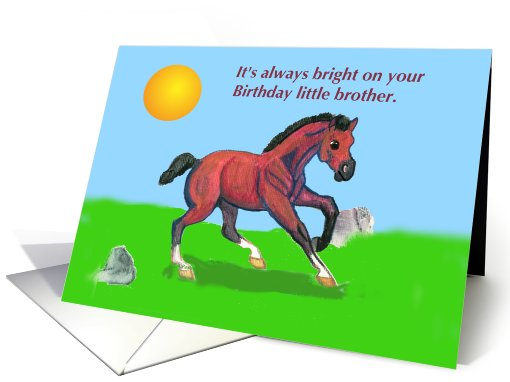 Bay Horse Colt Little Brother Birthday card (837964)