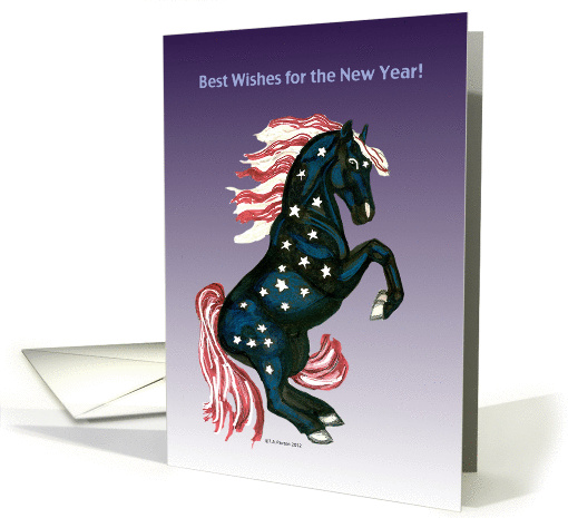 Star Spangled Horse New Year's Best Wishes card (983261)