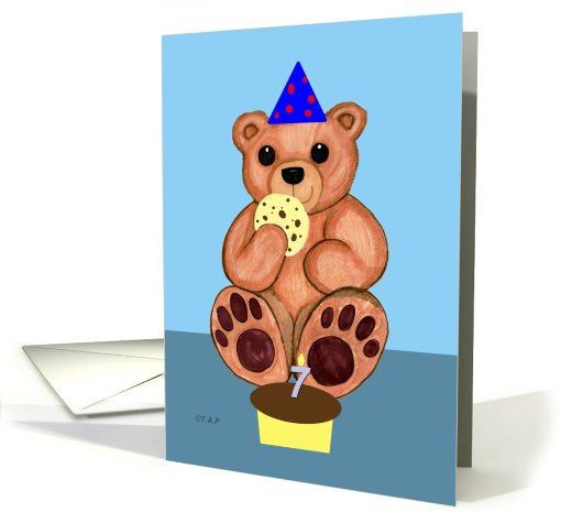 Seven years old Birthday Bear card (601621)