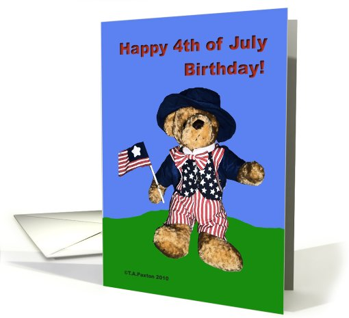 Happy 4th of July Birthday Bear card (610072)