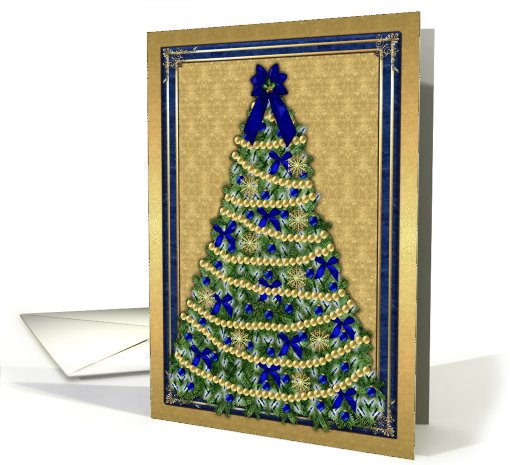 Decorated Christmas tree - Gold and blue card (527577)
