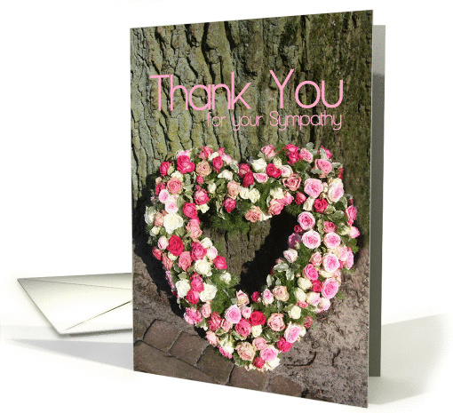 thank you for Sympathy card - Pink heart rose bouquet near tree card