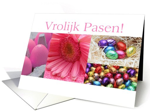 Dutch happy Easter - Pink Easter Collage card (764937)
