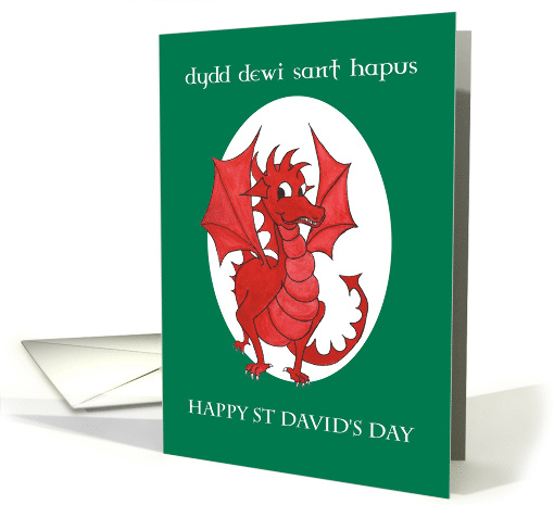 Bilingual St David's Day Greeting Card: Red Dragon card (1252132)
