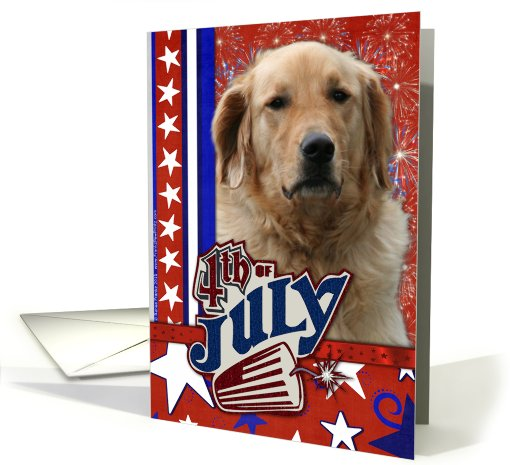 July 4th Firecracker - Golden Retriever - Mickey card (624629)