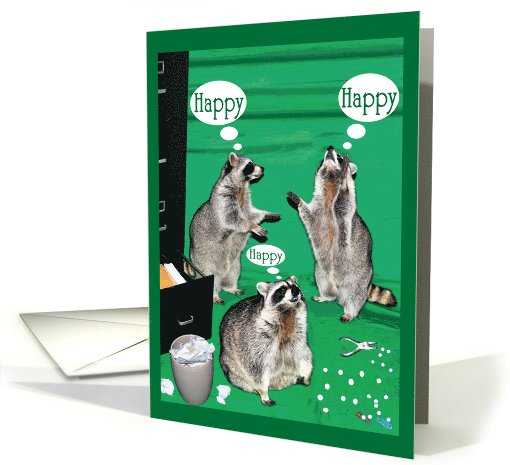 Boss's Day, raccoons with file cabinet, hole puncher, paper clips card