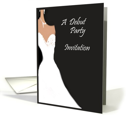 invitation debut party, black and white card (659604)
