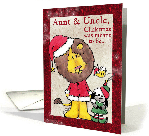 Merry Christmas for Aunt and Uncle-Lion and Lamb- Santa and Elf card
