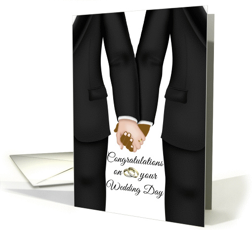 Wedding Day Gay Couple (Bi-racial) Two Men holding hands card