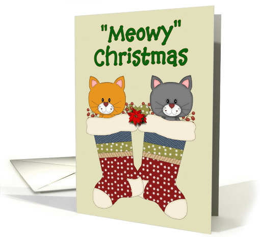 Meowy Christmas - Two Cats hanging in their Stocking card (969181)