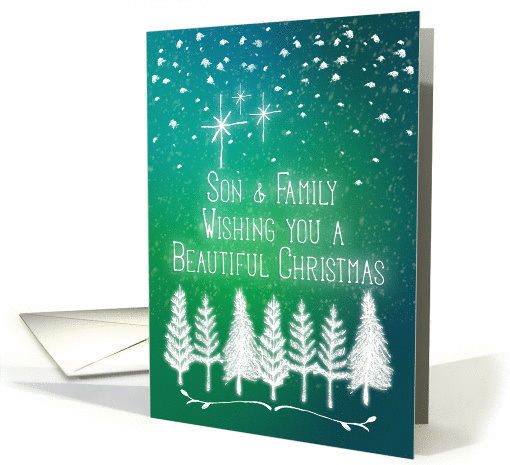 Merry Christmas Son and Family Trees & Snow Glowing Winter Scene card