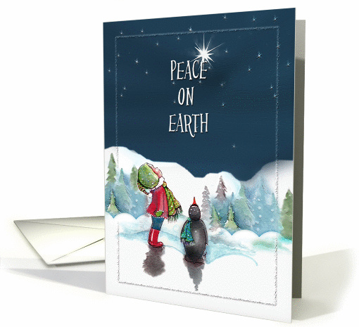Little Girl with Penguin, Peace on Earth card (855051)