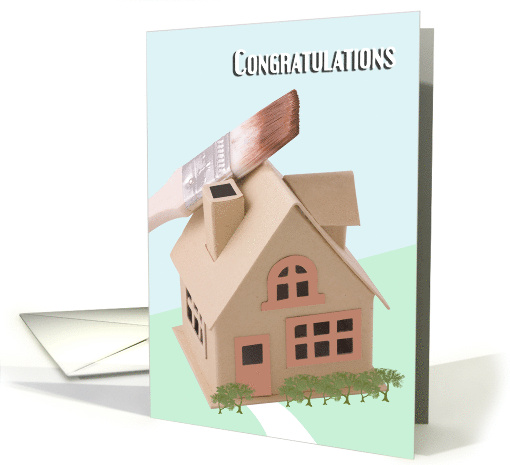 Home Improvement - Congratulations, house with paint brush card