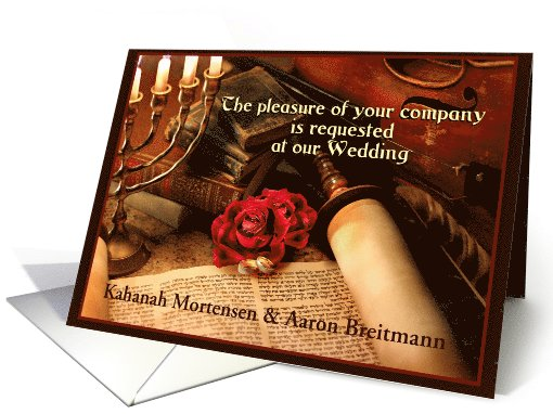 Invitation, Jewish Wedding Announcement with Custom Front card