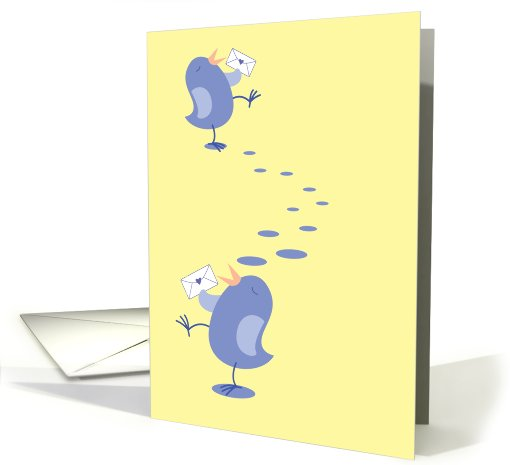 Walking tweeter bird with cute little envelope card (820109)