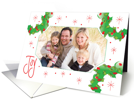 Joy Christmas Photo Holder with Wreaths and Hand Lettering card