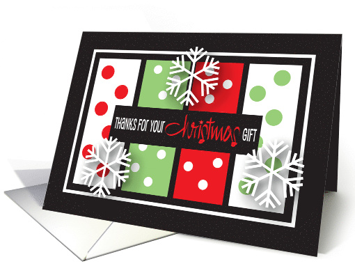 Christmas gift Thank You, Green with red polka dots card (886022)