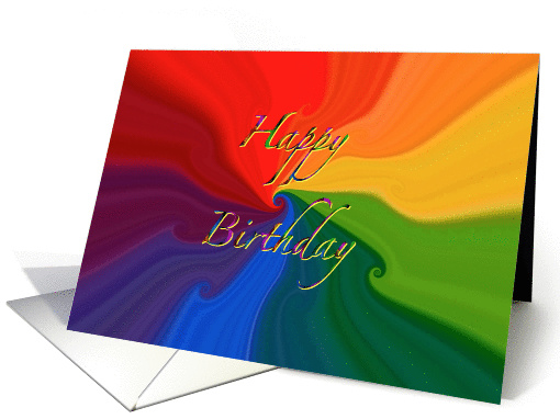 abstract swirl colorful happy birthday Nova card (852223)