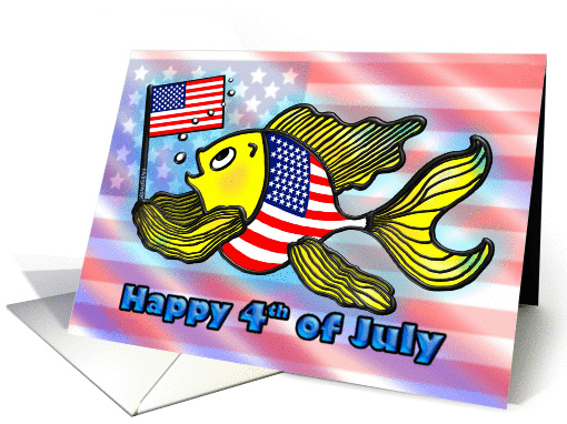 Happy 4th of July American Flag Fish Patriotic God Bless America card