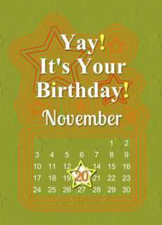 November 20th Yay It's Your Birthday date specific card (941057)