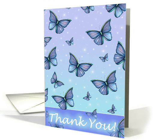 blue butterfly thank you cards