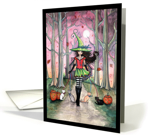 Halloween Witch and Cats Card - Molly Harrison Art card (854836)