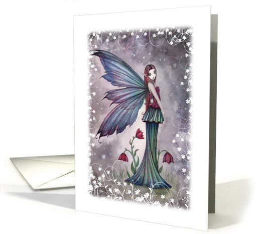 Thinking of You Card - Flowers in Winter Flower Fairy card (890337)