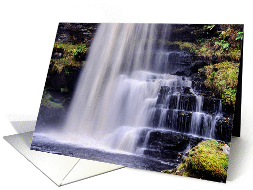 Colour dreamy waterfall - Uldale Force Cumbria blank card (873996)