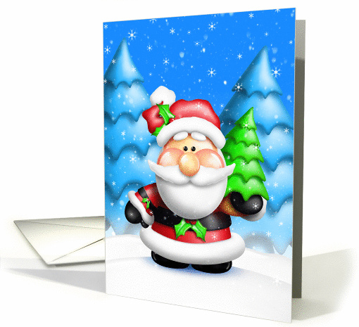 Happy Holidays, Whimsical Santa with Christmas Tree card (879960)