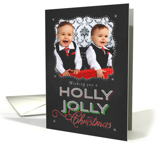 Chalkboard Wishing you a Holly Jolly Christmas Photo card (1186800)
