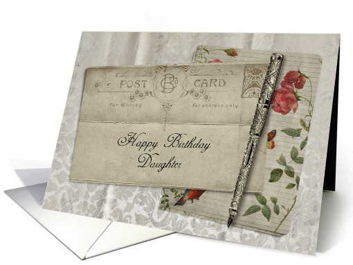 Vintage Postcard Happy Birthday Daughter card (947835)